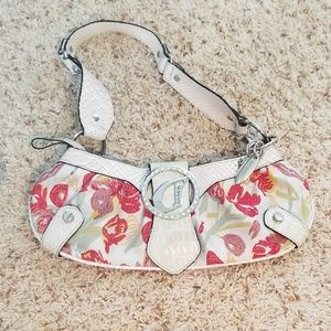 Red flower print & snake leather small purse